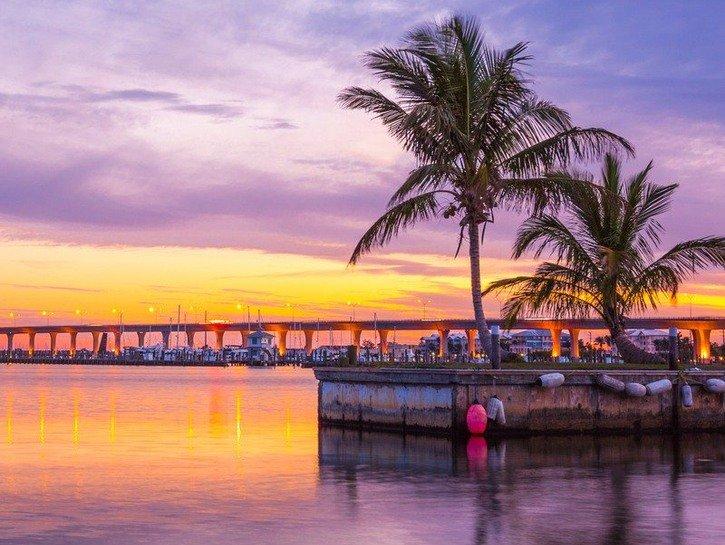 Sunset over the harbor in Stuart, Florida.