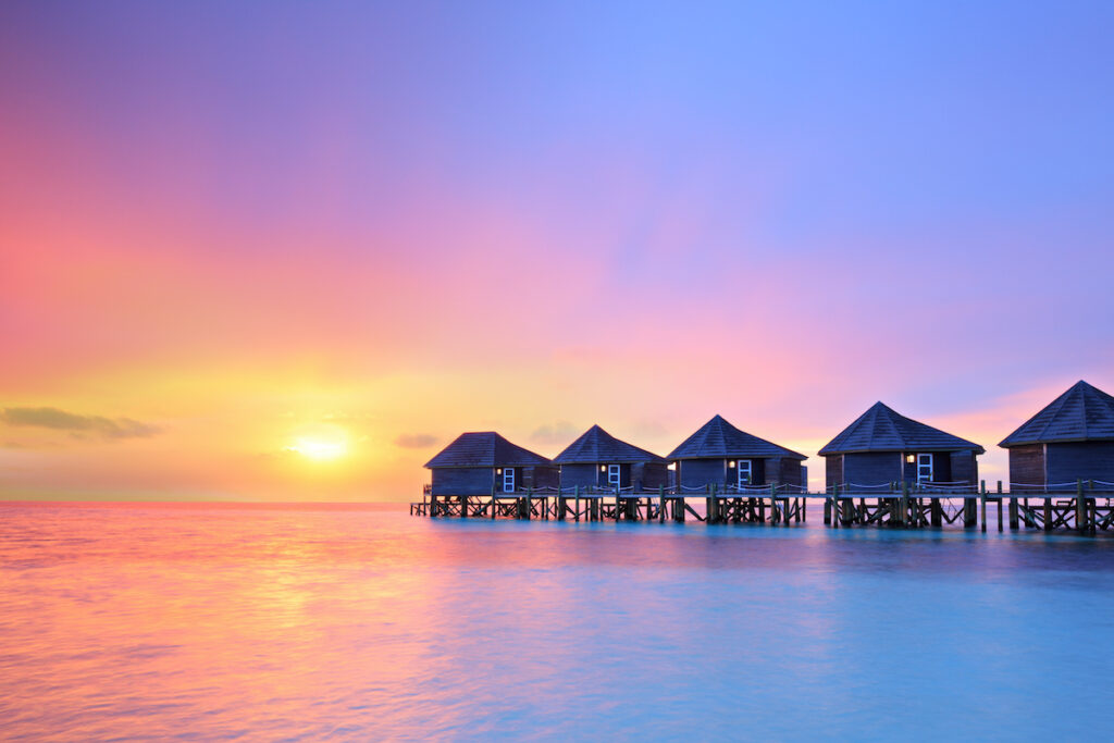 Sunset over the Maldives.