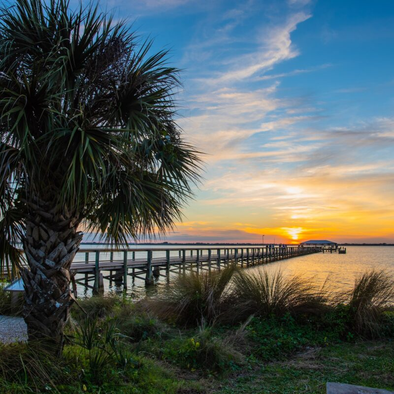 Sunset over the Melbourne Beach Pier on Florida's Space Coast.