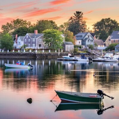 Sunset over the quaint town of Portsmouth, New Hampshire.