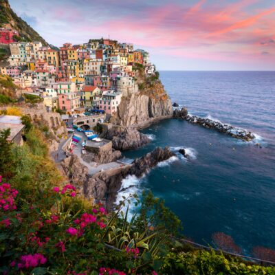 Sunset over the romantic town of Manarola, Italy.