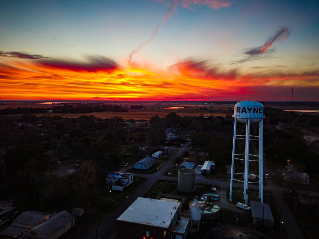 Sunset over the town of Rayne, Louisiana.