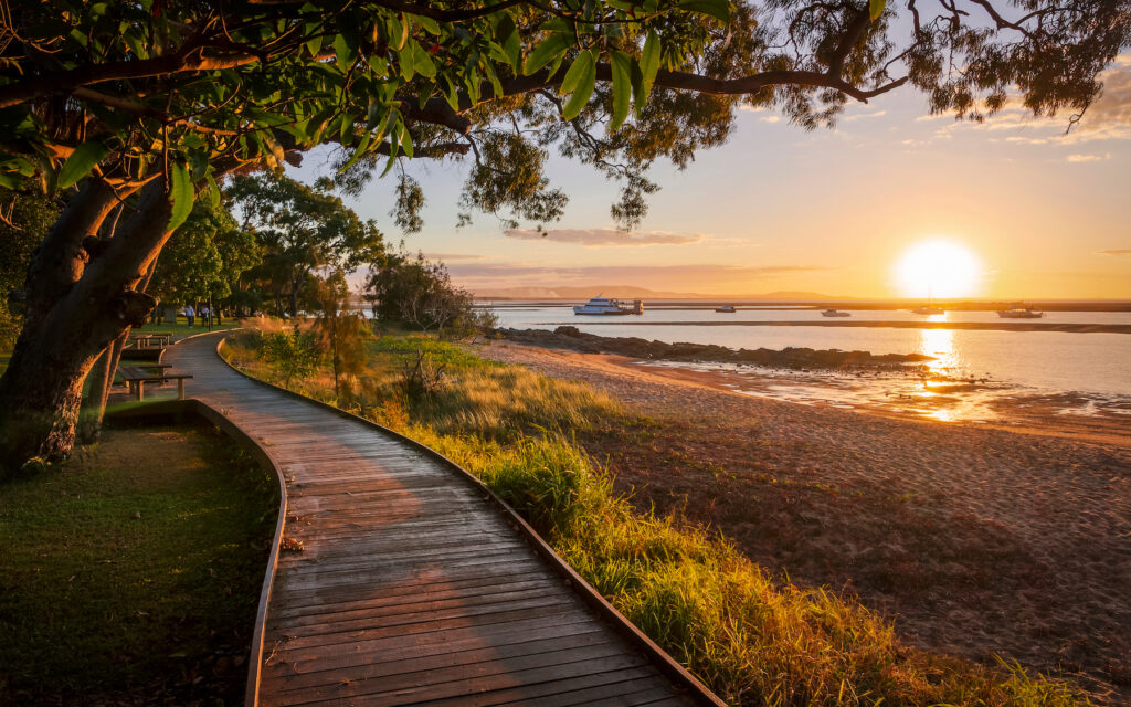 Sunset over the town of Seventeen Seventy, Australia.
