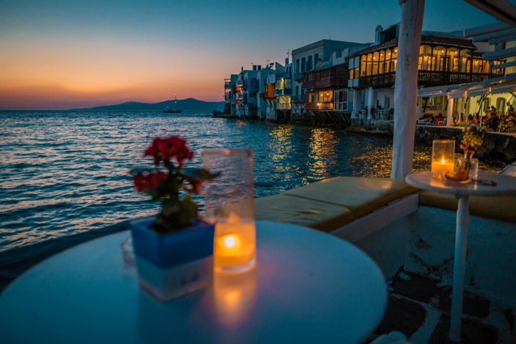 Sunset view from Little Venice in Mykonos.