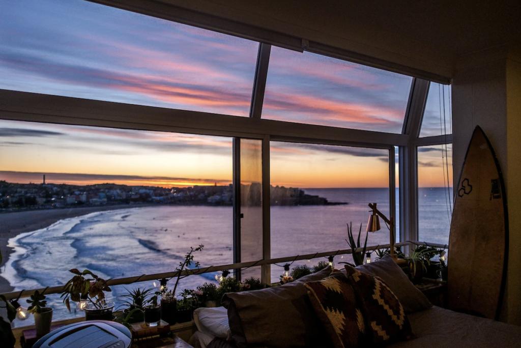 Sunset views from an Airbnb at Bondi Beach.