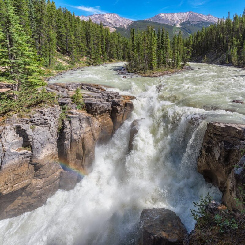 Sunwapta Falls in Jasper, Canada.