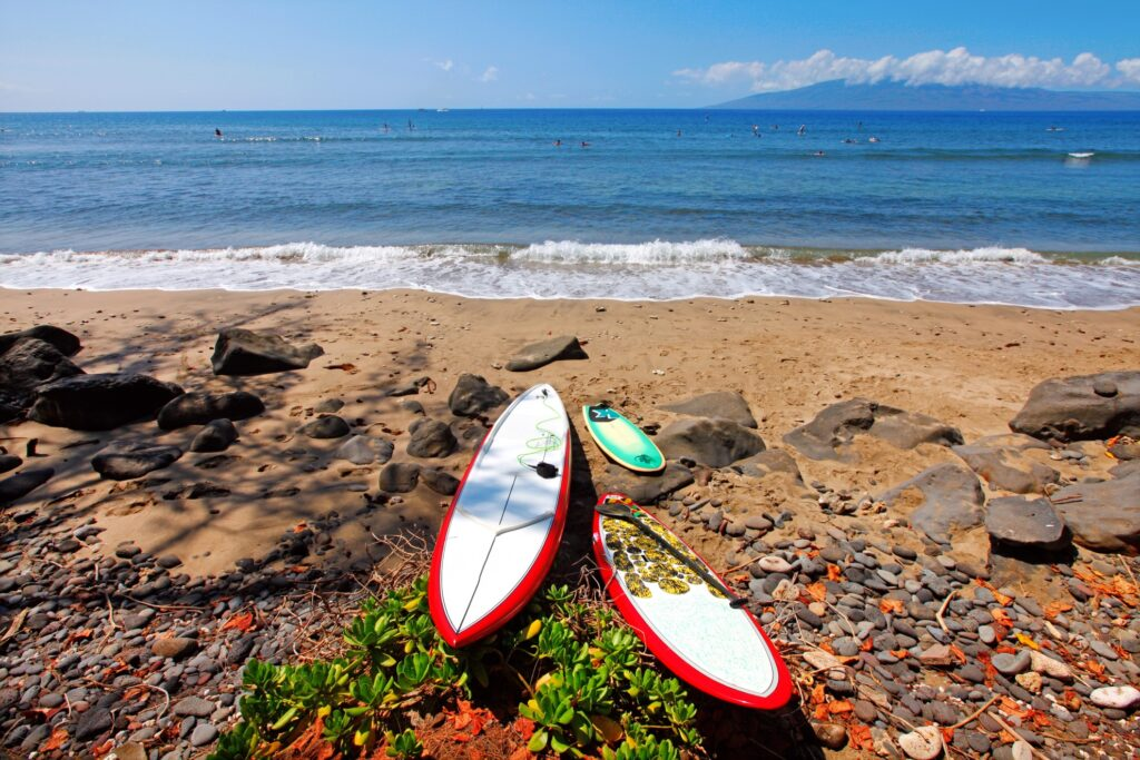 Surf boards on a beach in Lahaina.