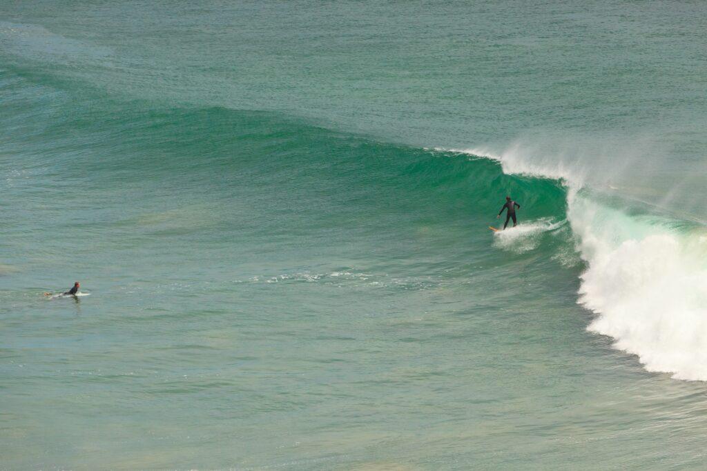 Surfers in Malibu, California.