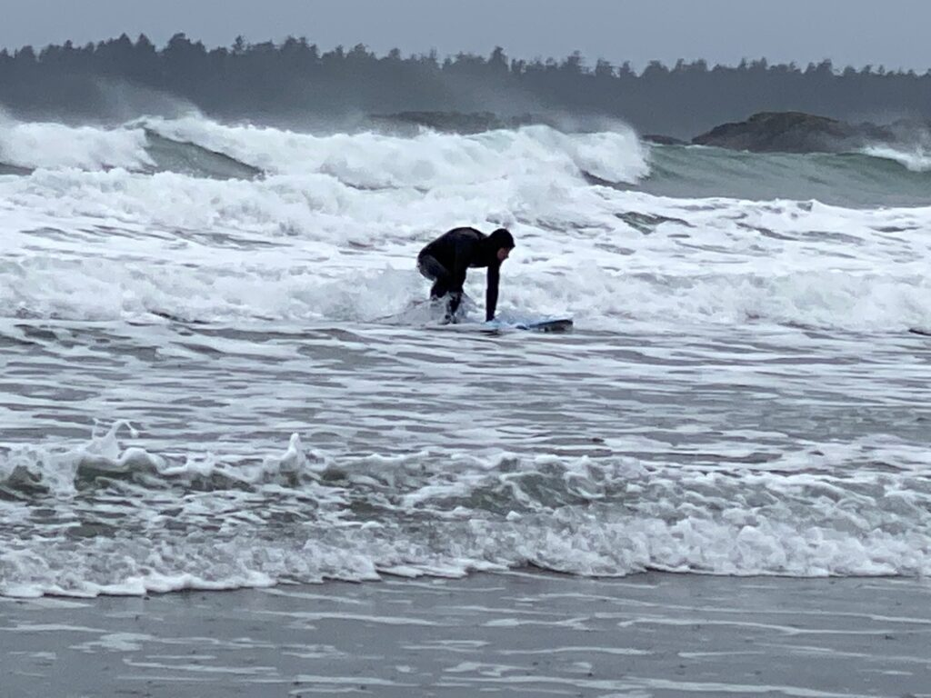 Surfing on the coast of Vancouver Island.