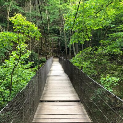 Swinging Bridge on Balanced Rock Trail at Trough Creek, Pennsylvania.