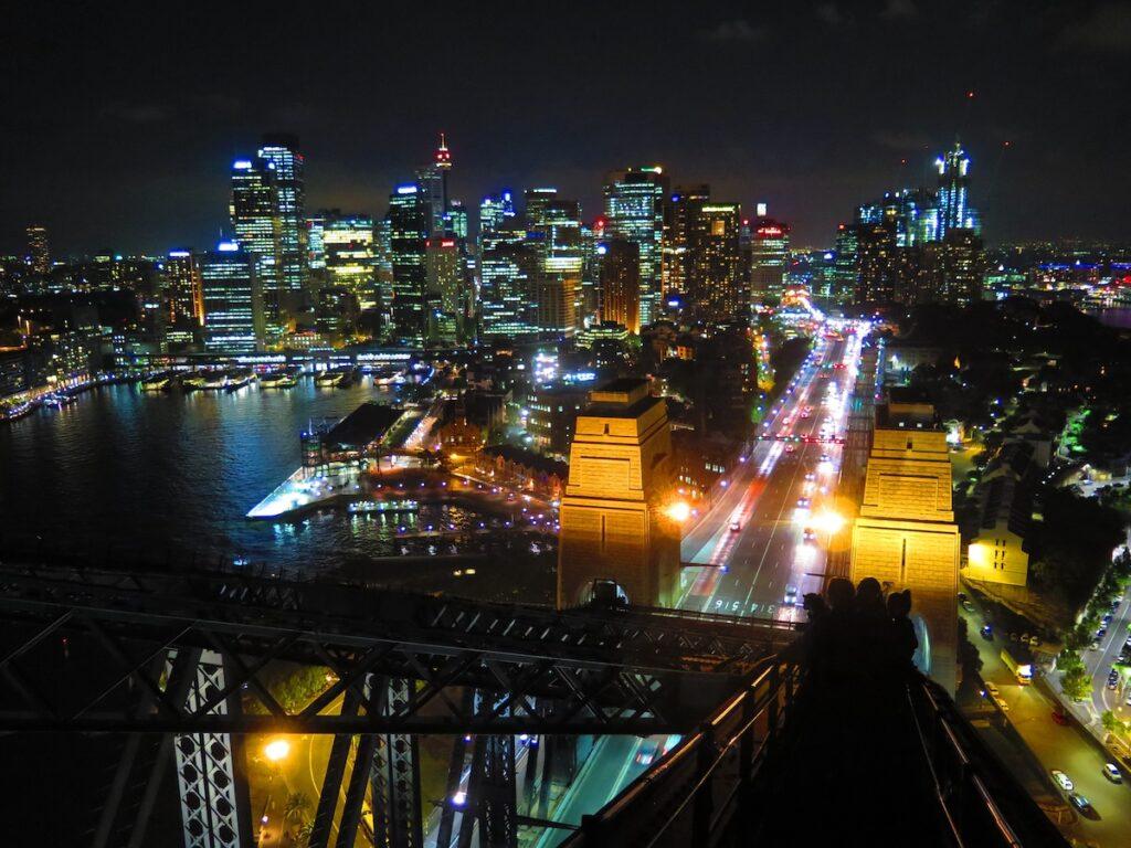 Sydney, Australia, skyline from Sydney Harbour Bridge.