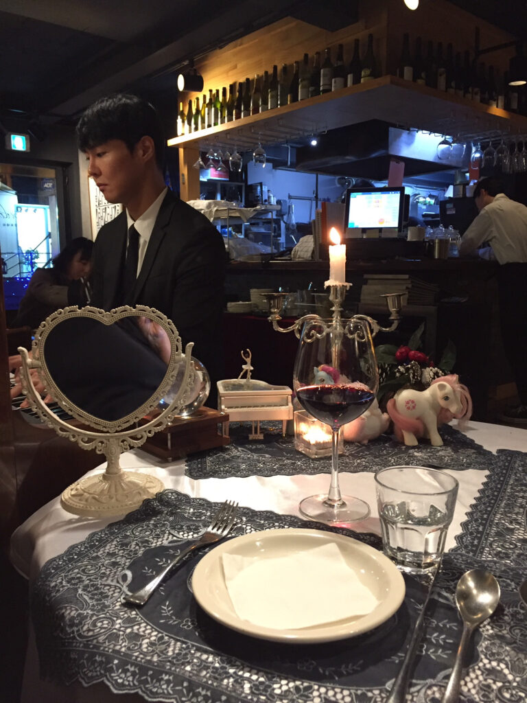 Table for one at a restaurant in Seoul.