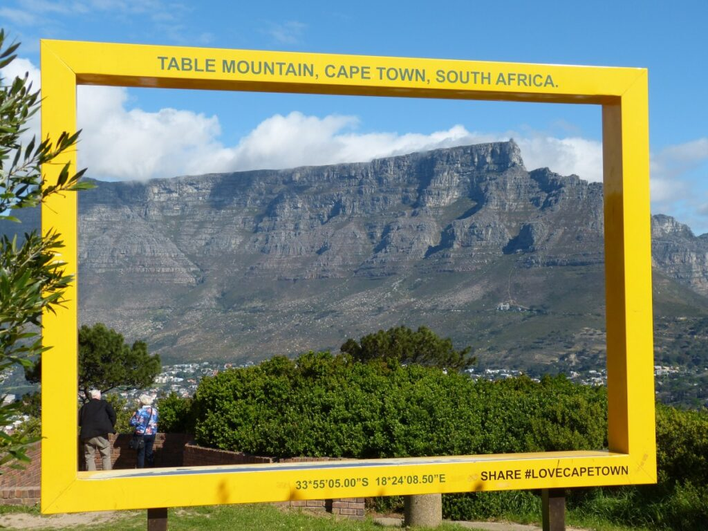 Table Mountain shot through a giant yellow picture frame