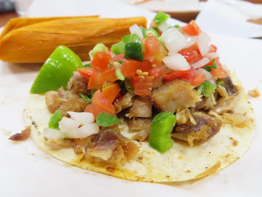 Tacos from Carniceria y Tortilleria San Antonio.