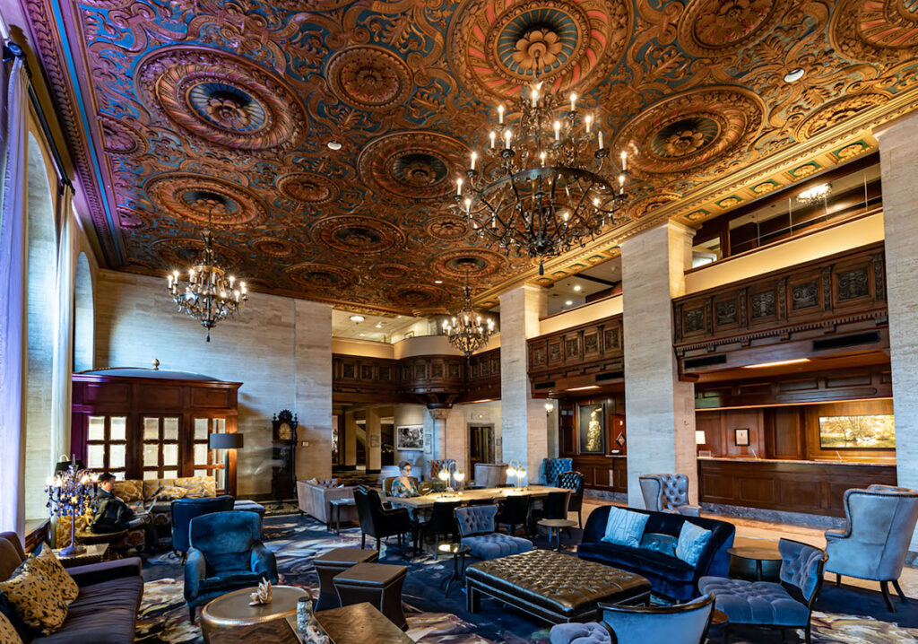 Tall ceilings and impressive chandeliers at Hotel Dupont.