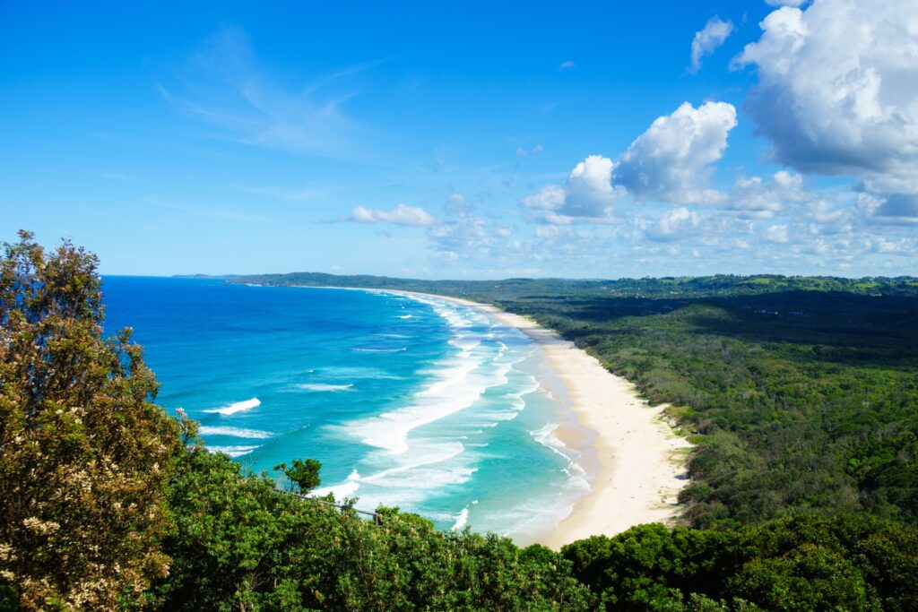 Tallow Beach in New South Wales, Australia.