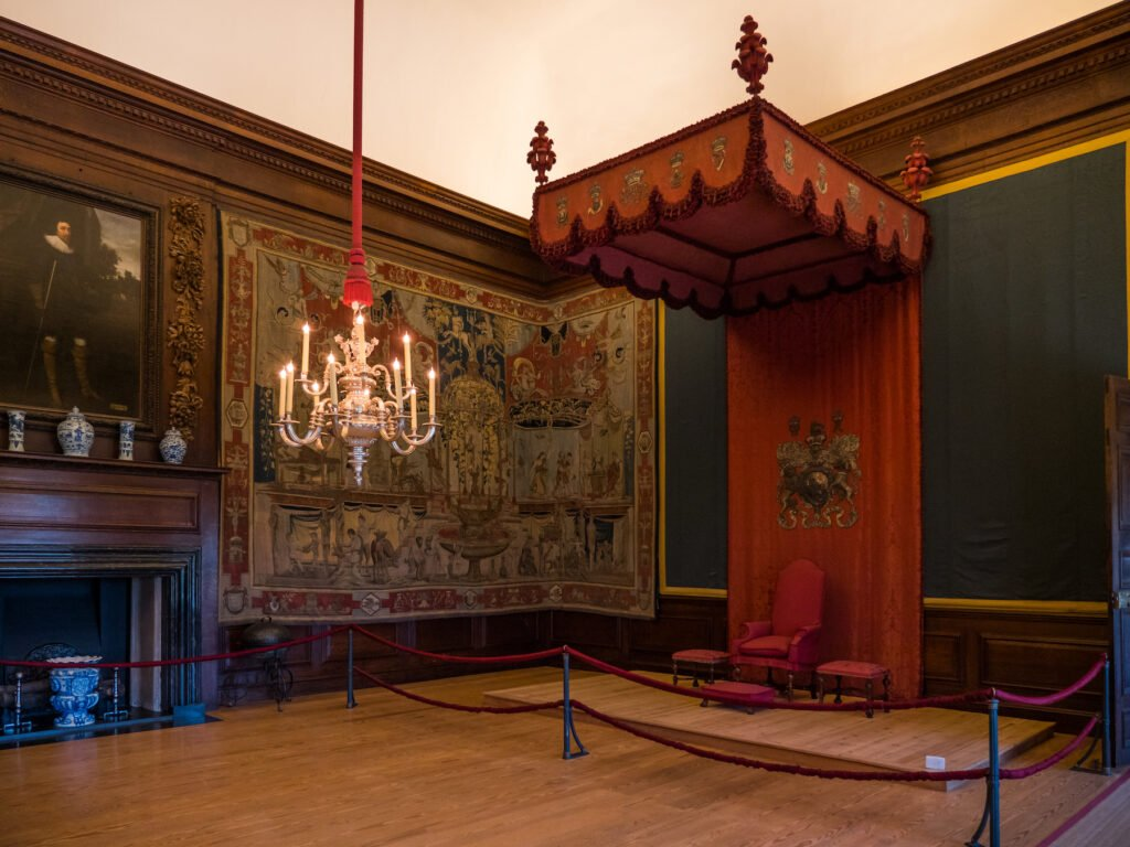 Tapestries inside Hampton Court Palace in London.