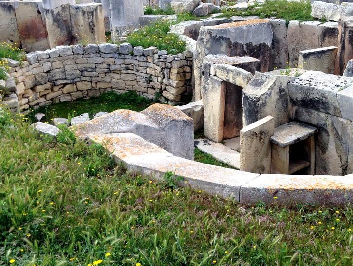 Tarxien Temple ancient ruins.