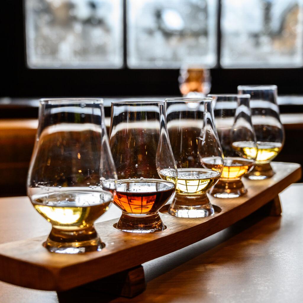 Tasting glasses of Scottish whiskey.