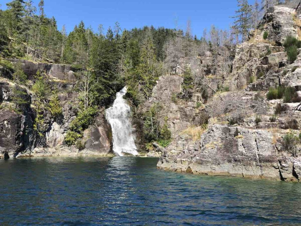 Teakern Arm waterfall on Desolation Sound.