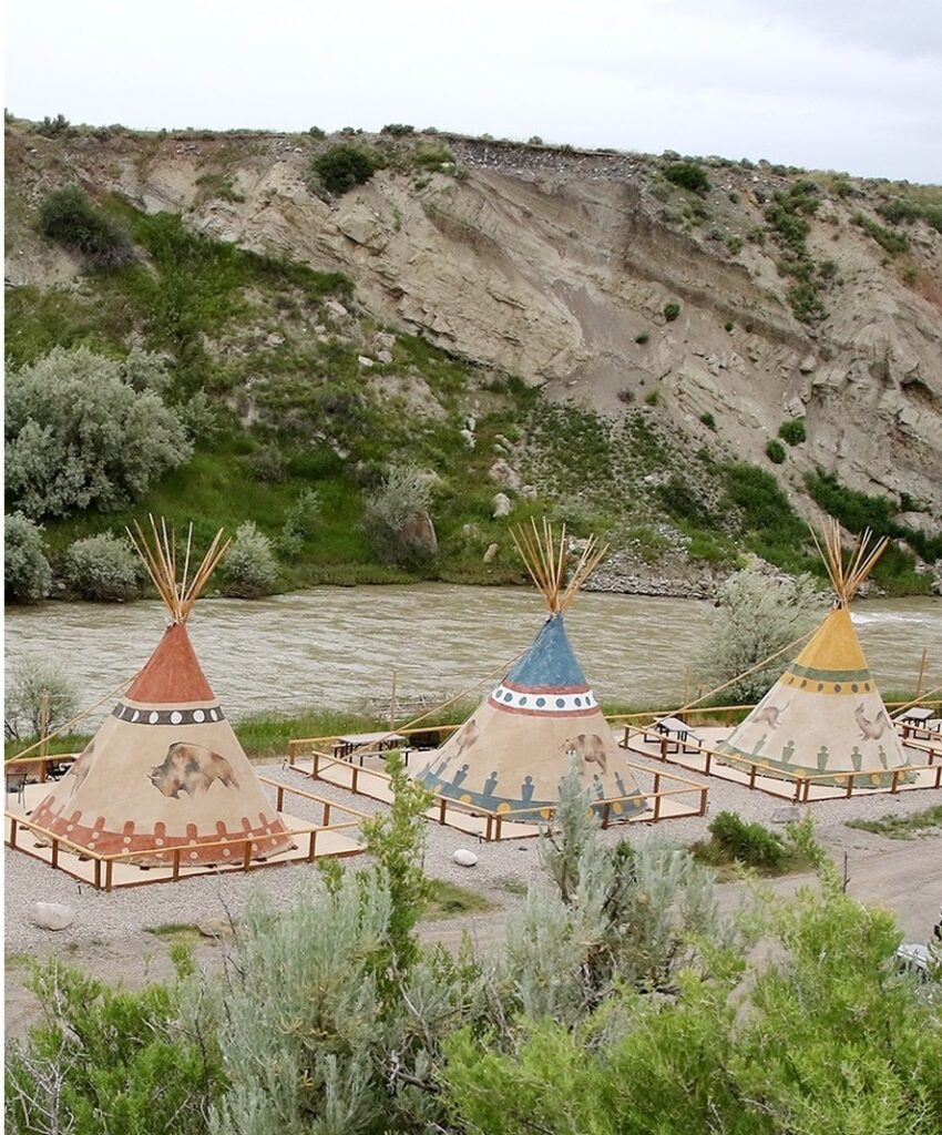 Teepees at the Cody Trout Ranch Camp.