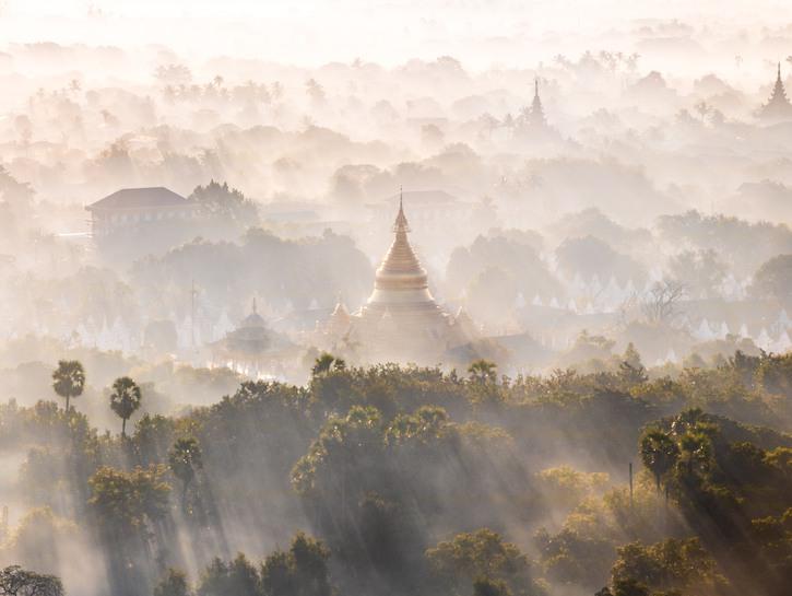Temples of Myanmar seen through morning fog