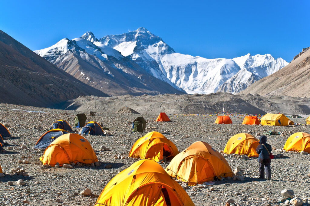 Tents at the base camp of Mount Everest.