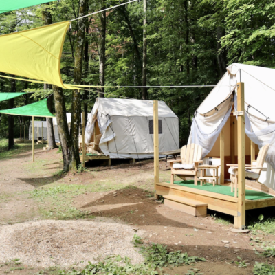 Tents at Treetopia Campground in Catskill.