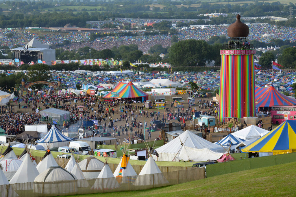 Tents set up at Glastonbury Festival.