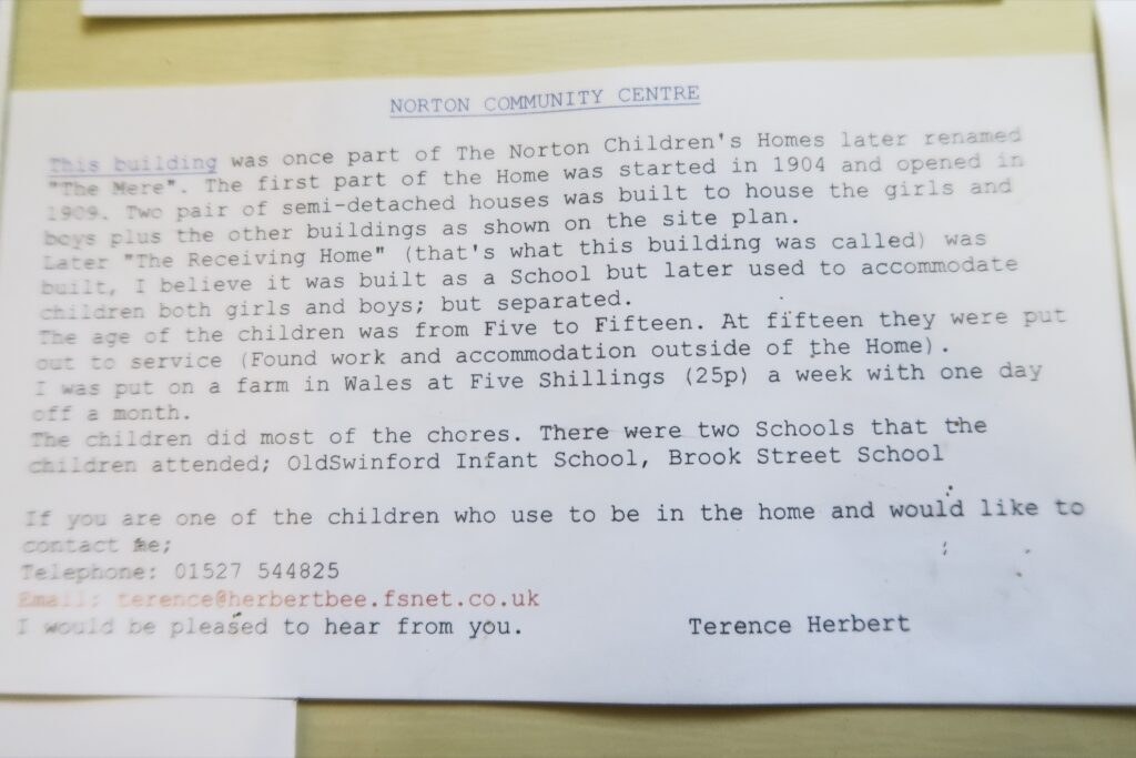 Terence Herbert's letter in the old orphanage.