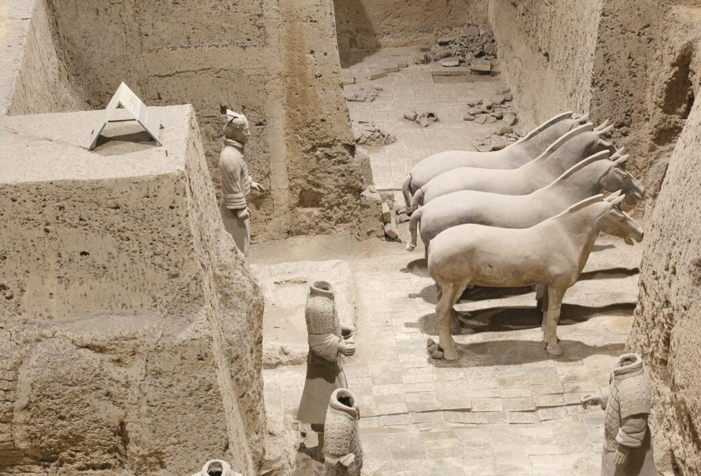 Terracotta horses and warriors in Xi'an, China.