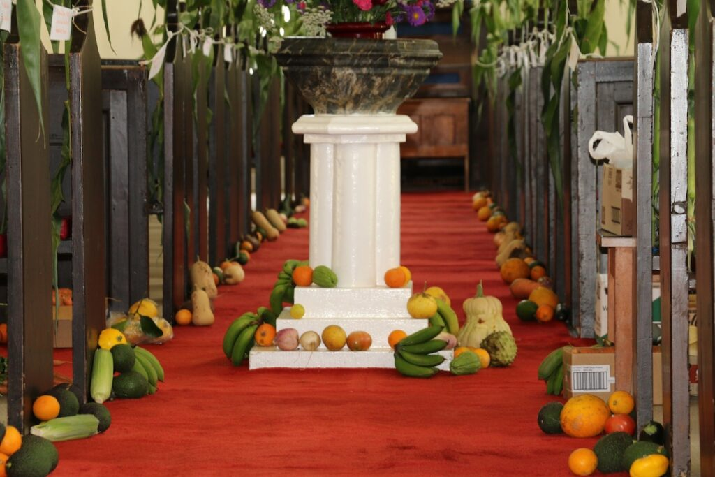 Thanksgiving decorations at St. Barnabas Chapel.
