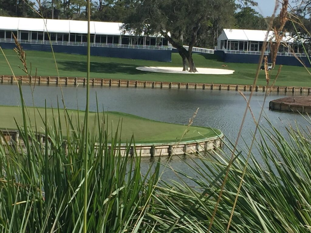 The 17th hole at TPC Sawgrass in Florida.