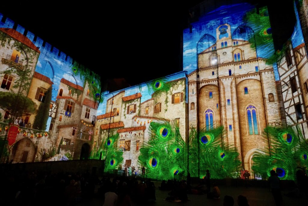 The 360-degree laser light show at the Popes' Palace.