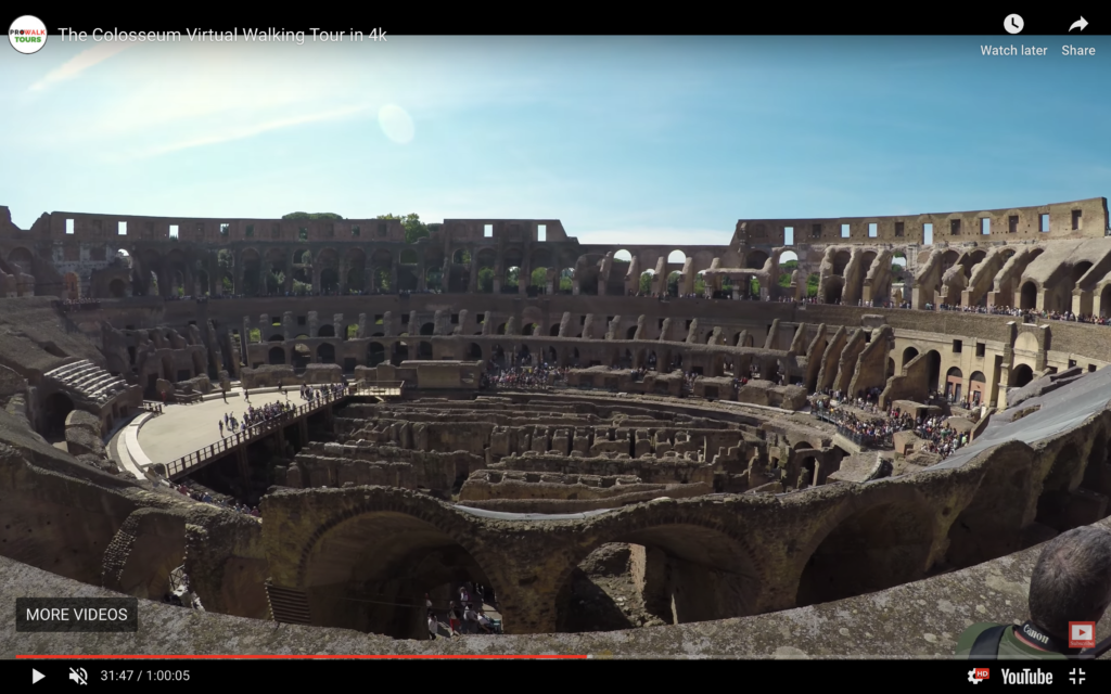 The 360-degree virtual reality tour of the Colosseum.