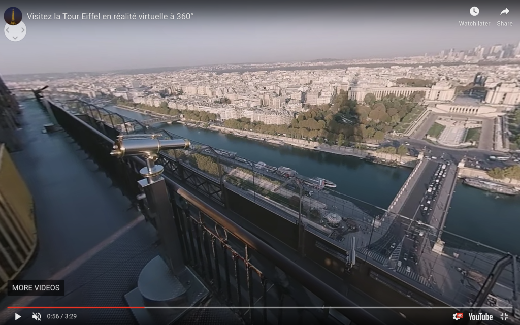 The 360-degree virtual reality tour of the Eiffel Tower.