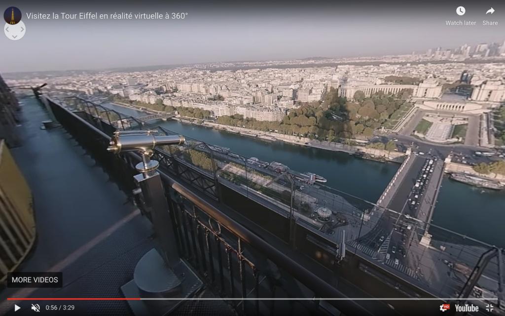 The 360-degree virtual reality tour of the Eiffel Tower.