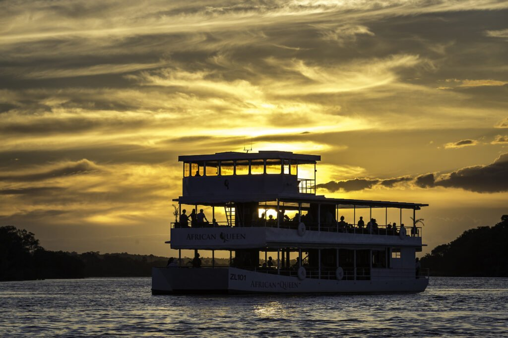 The African Queen on a sunset cruise.
