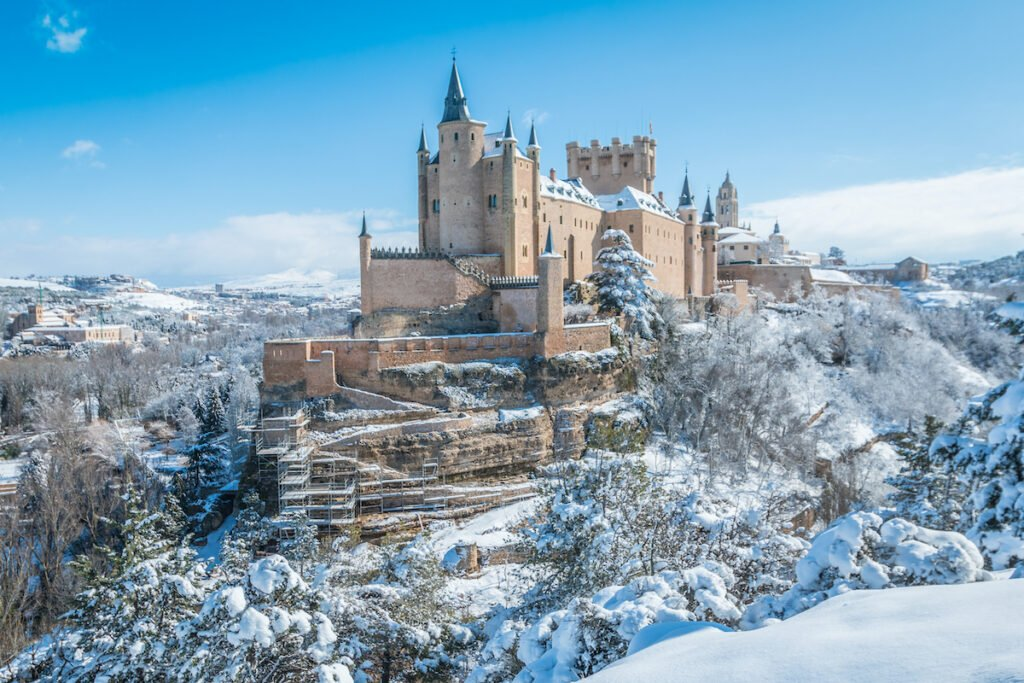 The Alcazar De Segovia in Spain during winter.