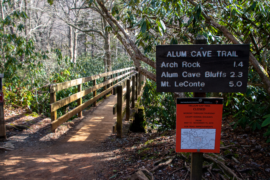 The Alum Cave Trail in Great Smoky Mountains National Park.