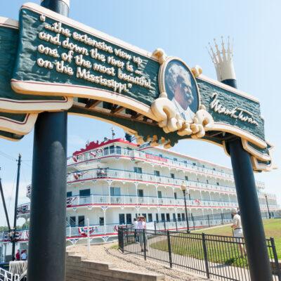 The American Eagle paddlewheel riverboat in Hannibal, Missouri.