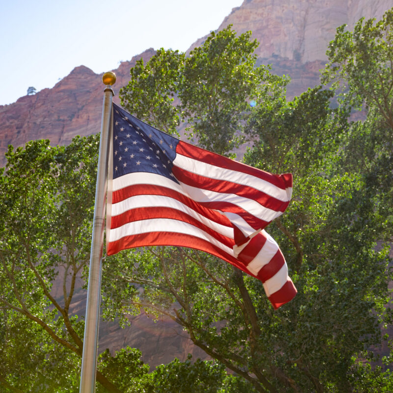 The American flag flying at Zion National Park.