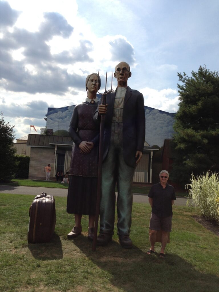 The American Gothic statue at Grounds For Sculpture.