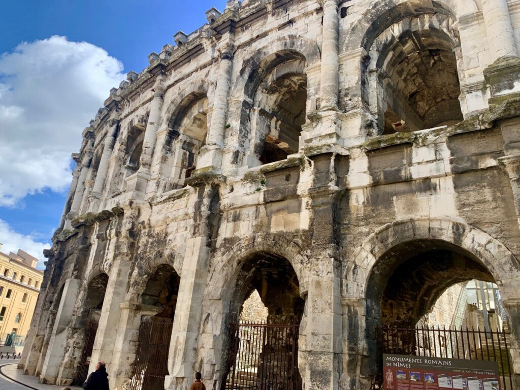 The Amphitheatre of Nimes in France.