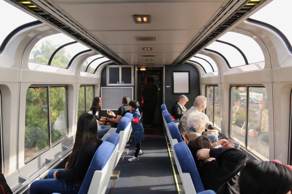 The Amtrak observation car.