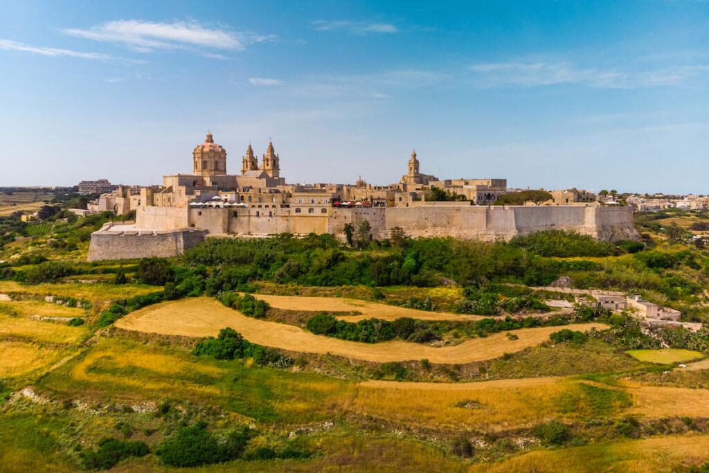 The ancient walled city of Mdina, Malta.