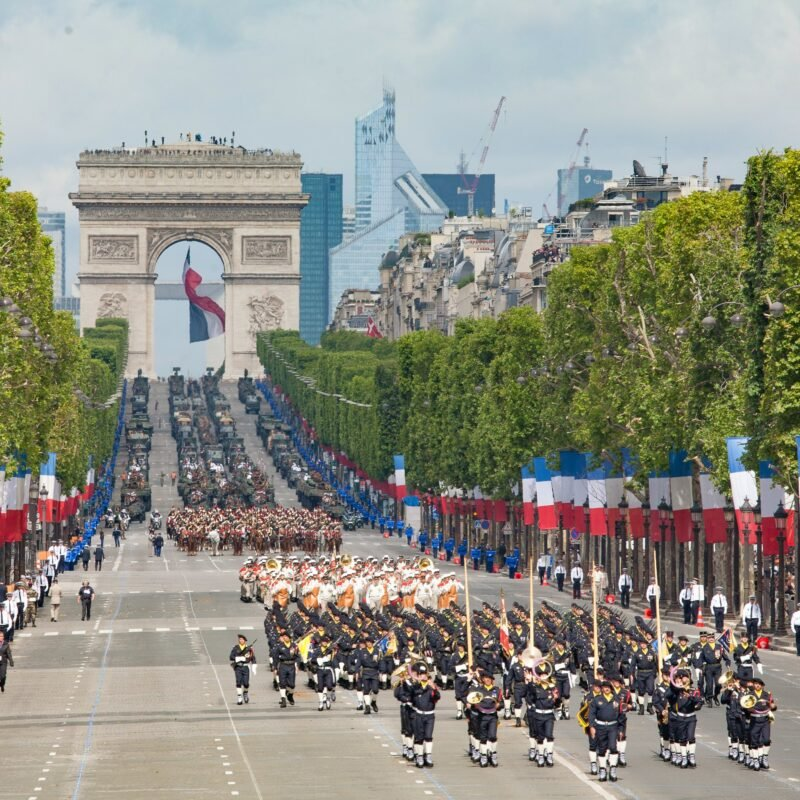 The annual military parade in Paris, France, for Bastille Day.