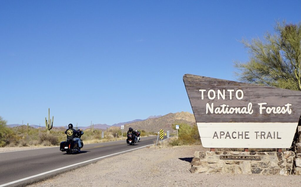 The Apache Trail through the Superstition Mountains in Arizona.