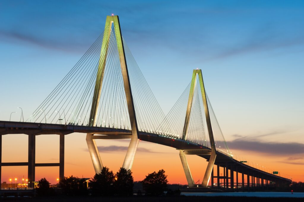 The Arthur Ravenel Bridge at sunset.