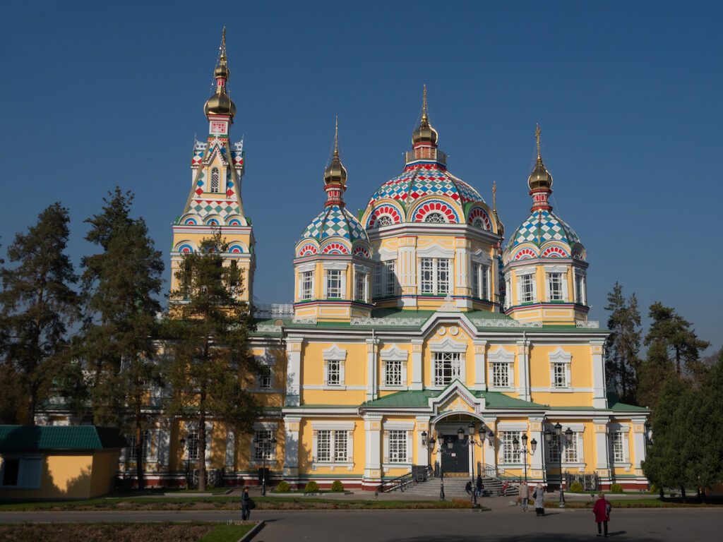 The Ascension Cathedral in Almaty, Kazakhstan.
